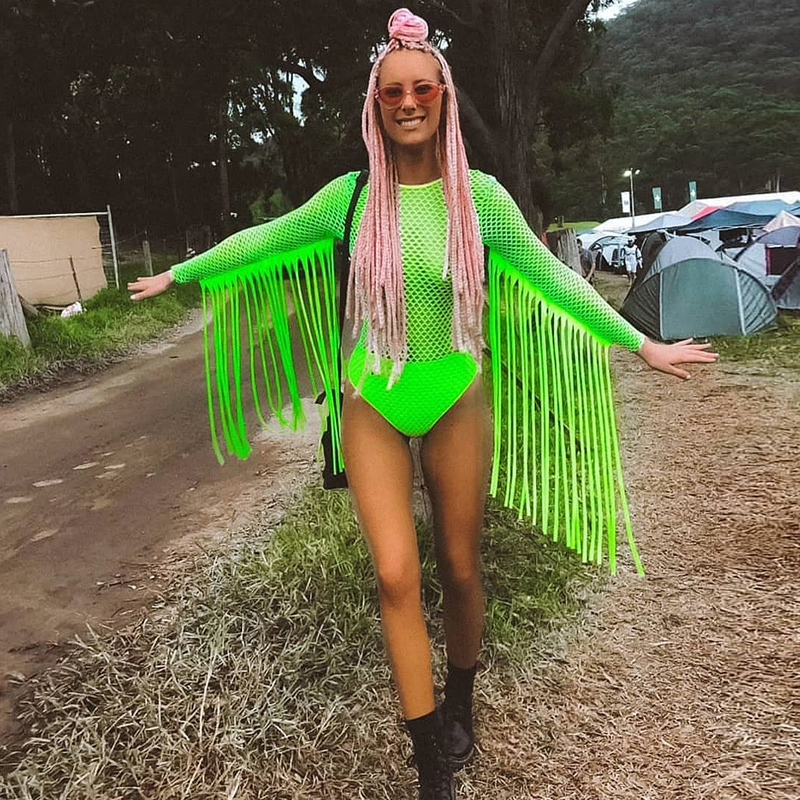 Neon Green Fishnet Grid Tassel Bodysuits Women Long Sleeve See Through Jumpsuit Party Clubwear Rave <font><b>Festival</b></font> Clothing Playsuit image