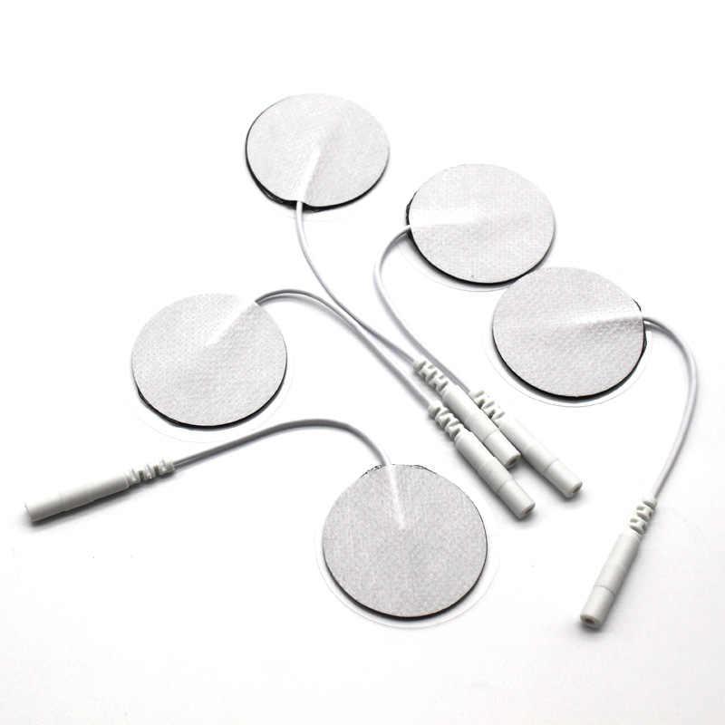 10 unids/lote 3,5 cm almohadillas redondas de electrodo máquina de masaje Digital/Estimulador muscular nervioso 2mm enchufe con Cable para terapia física