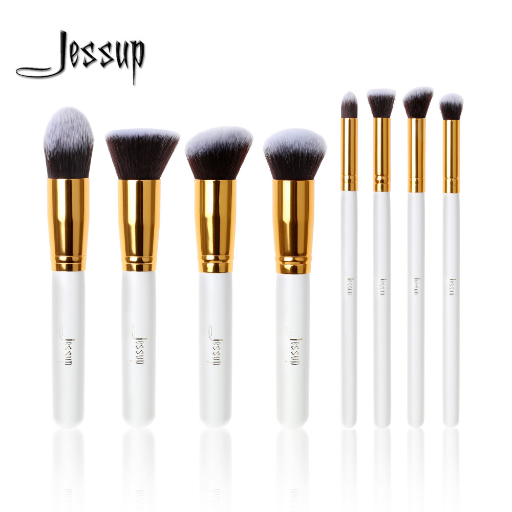 Jessup Brand Professional 8pcs White/Gold Makeup Brushes set Beauty Cosmetics Make up brush Foundation blush Liquid Kabuki professional 10pcs blue silver jessup makeup brushes sets beauty kit foundation kabuki precision brush cosmetics make up tools