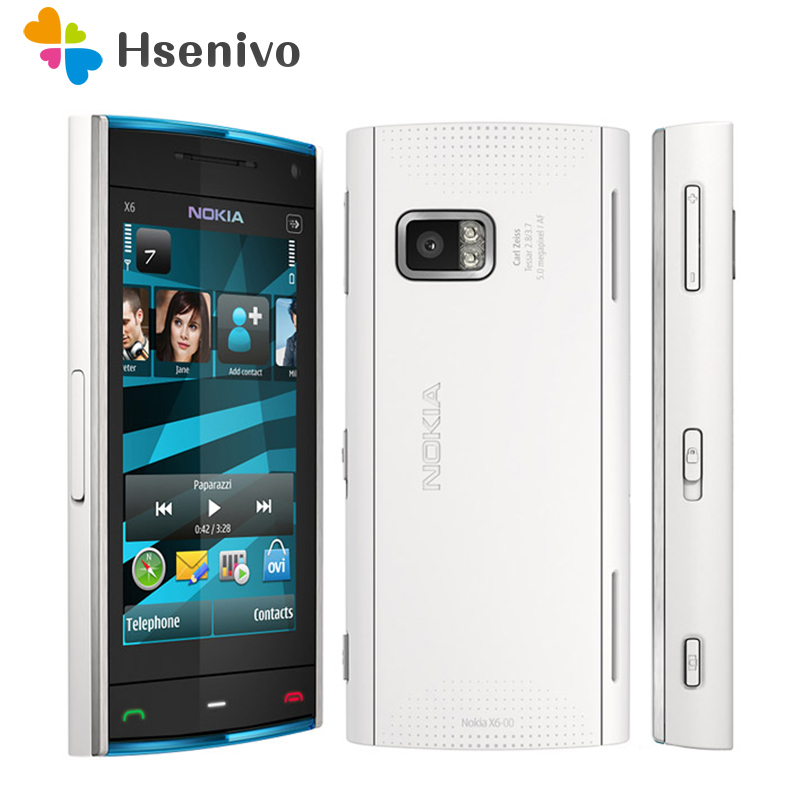 X6 100% téléphone d'origine Nokia X6 débloqué quadri-bande FM Radio GSM SymbianRAM 128 mo ROM 16 GB téléphone portable remis à neuf