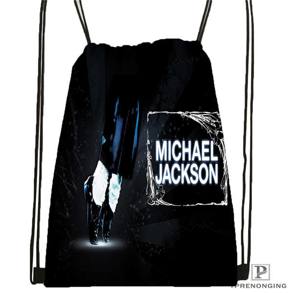 Custom Michael Jackson @1Drawstring Backpack Bag Cute Daypack Kids Satchel (Black Back) 31x40cm#180612-02-28