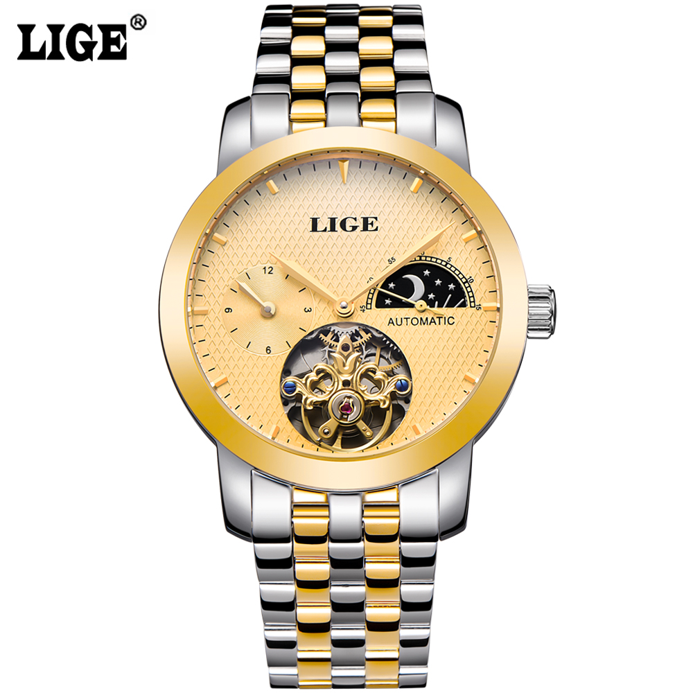 ФОТО LIGE Brand Men's  Moon Phase Automatic Watch man Dive 50m Fashion Casual Business Watches men Full steel Gold watch reloj hombre