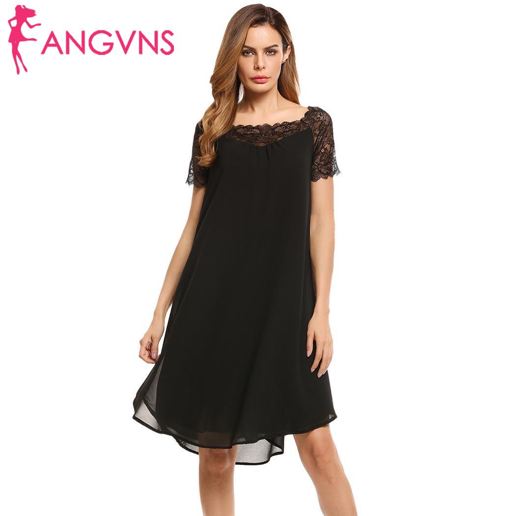 ANGVNS Women Casual Sleeve Lace Patchwork Pullover Chiffon Dress 2018 Spring summer Femme Robe Feminino Vestidos