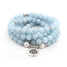 Fashion Blue women bracelet 108 mala yoga Howlite Natural Stone with Lotus charm Bracelet