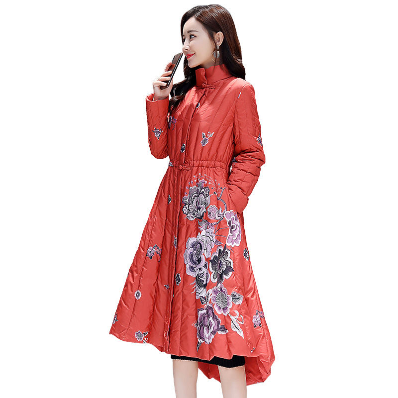 Autumn Winter Jacket Women   Parka   Vintage Print Flower Cotton Jacket Elegant Slim Plus Size Vhaqueta Mujer Ladies Long Coat Q1033