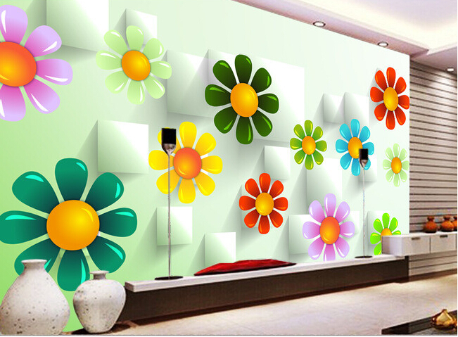 Custom 3d Wallpaper Colorful Flowers And Box For The