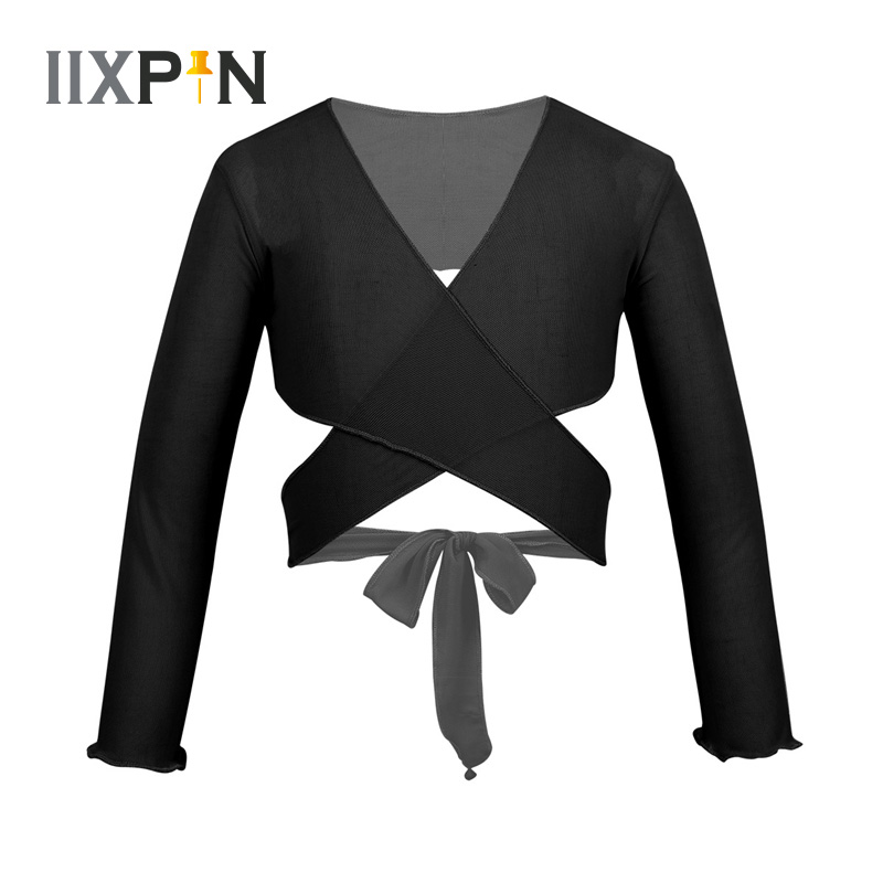 IIXPIN Kids Girls Ballet Clothes Dance Wear Wrap Classic Mesh Ballet Costume Long Sleeve Wrap Top With Adjustable Tie Closure