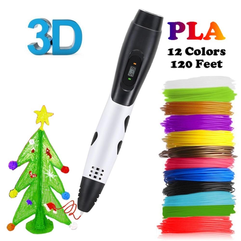 Dikale White 3D Printing Pen ABS/PLA Filament 6th Generation Drawing Printer Pencil Impresora Imprimant scribble