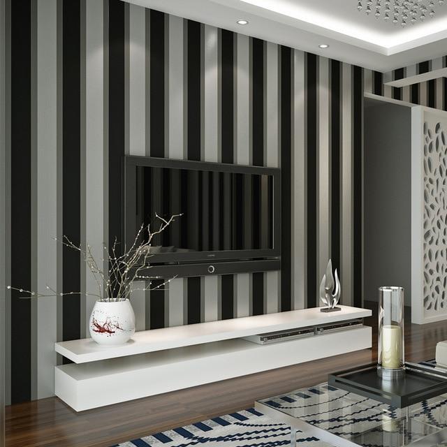 Wohnzimmer Schwarz Grau, beibehang einfachen gestreiften tapeten schwarz grau geschreddert, Design ideen