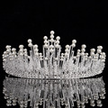New Gorgeous Simulated Pearls Queen Crowns and Tiaras Crystal Diademas de novia Brides Hair Jewelry Rhinestone Headpiece