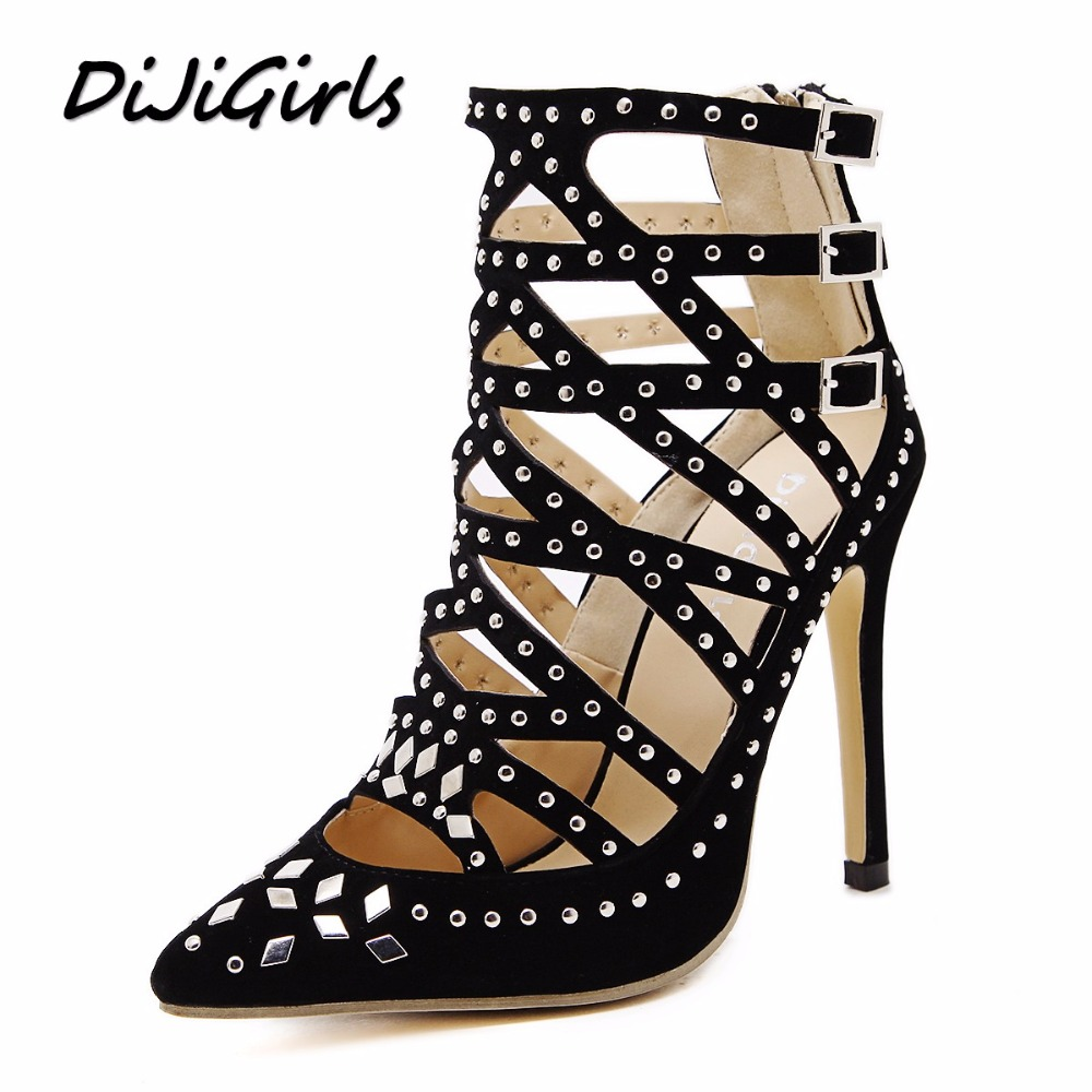 DijiGirls New summer women pumps fashion rivets cut-outs pointed toe high heels shoes woman party wedding stilettos  size 35-40 new spring summer women pumps fashion pointed toe high heels shoes woman party wedding ladies shoes leopard pu leather