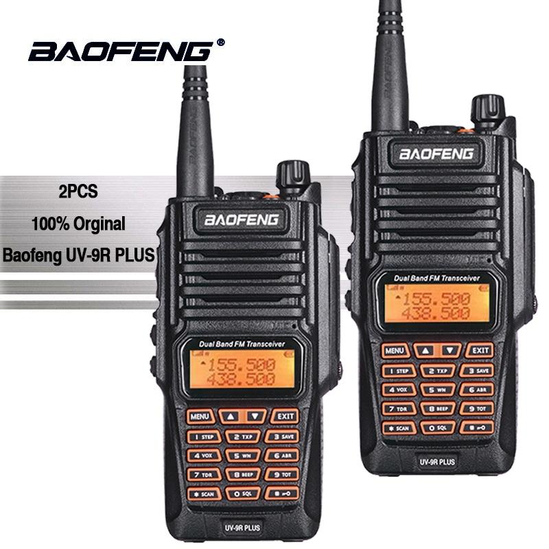 2 pcs Baofeng UV-9R Plus Portable Talkie Walkie Uhf Vhf IP67 Étanche Jambon Amateur Radio UV9R Woki Toki Équipement de La Police UV 9R
