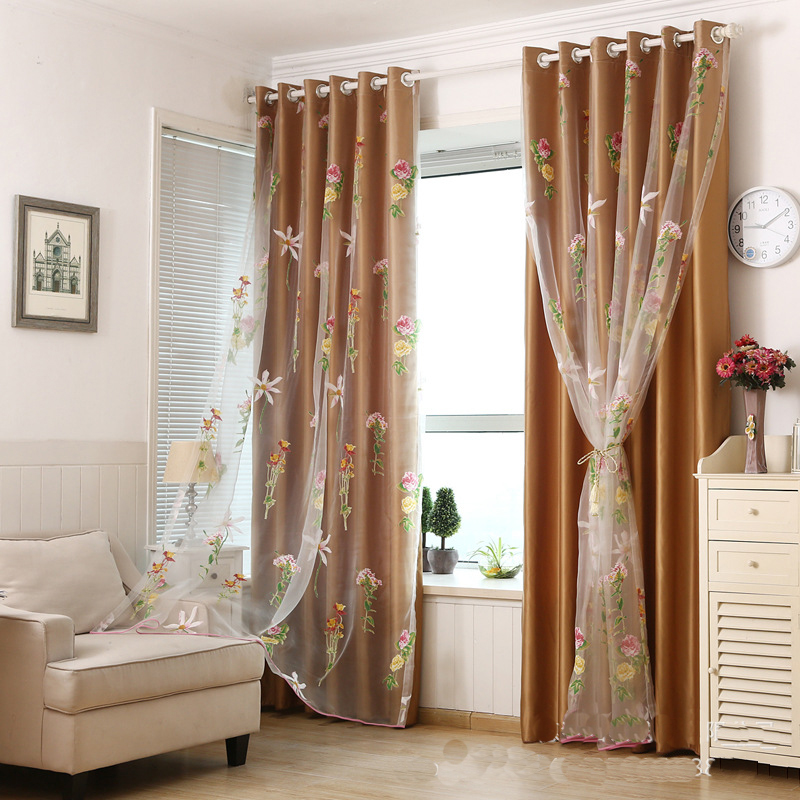2016 New Luxury Room Curtains Floral Tulle Window Curtain