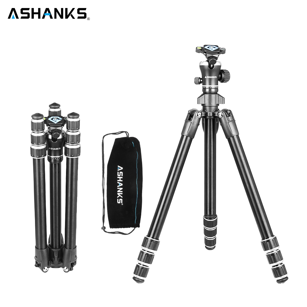 ASHANKS A666 Aluminum Camera Tripod with Professional Video Ball Head Portable for Photographic DSLR Camera 8KG 142cm/55.9'' professional dv camera crane jib 3m 6m 19 ft square for video camera filming with 2 axis motorized head