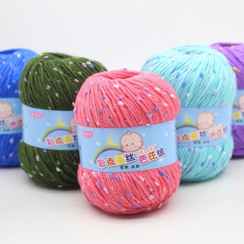 1 Pcs Yarn Skeins Colored Dots Soft Crochet 50g Knitting