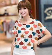 High Quality Heart Printed Summer Women Blouses Short Sleeve Chiffon Blouse Plus Size Blusas Femininas 2016 Tops Shirt Women