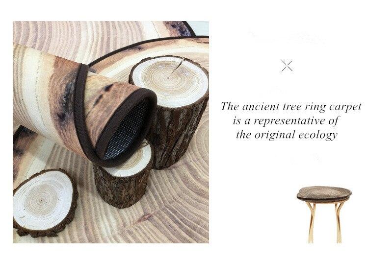 Круглый ковер в скандинавском стиле с деревянным зерном, индивидуальный креативный журнальный столик для спальни, компьютерное кресло, нескользящий коврик, домашний декор