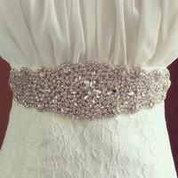 Iron on Rhinestone Applique Rhinestone Applique Trim for wedding bridal sash dress belt crystal rhinestone beaded trims applique
