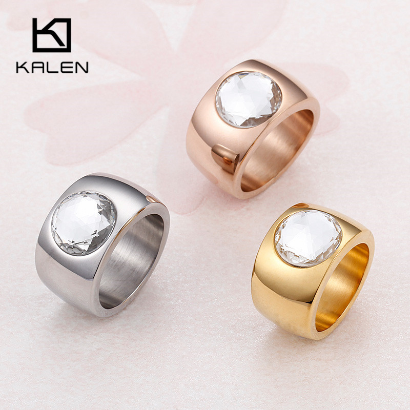 Kalen Trendy Crystal Round Ring 10MM Wide Ring New Arrival Rose Gold Color Stainless Steel Women Cocktail Ring Jewelry Size 7-10 new arrival gold color ring bijoux 14mm width big pave setting cz cross x ring for women trendy crystal jewelry wholesale gift