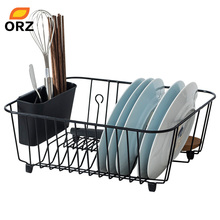 ORZ Kitchen Storage Organizer Dish Drainer Drying Rack Metal Kitchen Sink Holder Tray for Plates Bowl Cup Tableware Shelf Basket
