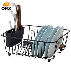 ORZ Kitchen Storage Organizer Dish Drainer Drying Rack Metal Kitchen Sink Holder Tray for Plates Bowl Cup Tableware Shelf Basket