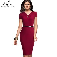 Nice-Forever Vintage Brief Solid Color Business Keyhole vestidos Formal Work Office Women Bodycon Female Pencil Dress B532(China)