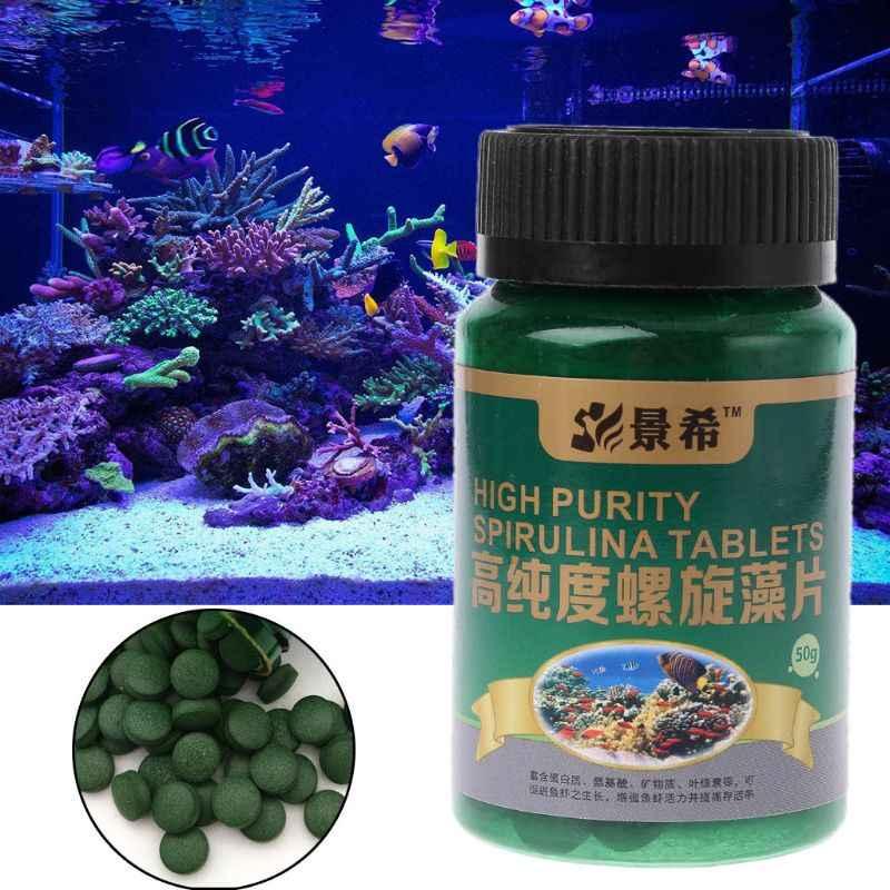50g ความบริสุทธิ์สูง Spirulina Tablets Fish อาหารกุ้งสำหรับ Aquarium ถังปลาปลา Pill สาหร่ายอุปกรณ์