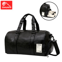Sport Fitness Shoulder Bag Leather Women Men Yoga Bags Sac De Sport Outdoor Travel Crossbody Bag Unisex Gym Bag  Handbag wellvo men pu leather travel duffle bag round bucket shape handle bag crossbody bags shoes storage handbag sac de voyagexa131wc