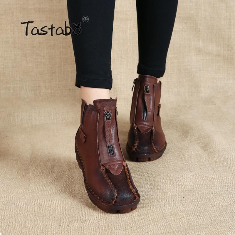 Tastabo جلد طبيعي الكاحل الأحذية المخملية اليدوية سيدة لينة أحذية مسطحة مريحة عارضة الاخفاف الأحذية النسائية
