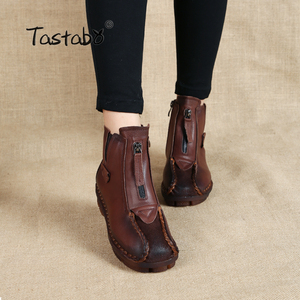 Image 1 - Tastabo Genuine Leather Ankle Boots Velvet Handmade Lady soft Flat shoes comfortable Casual Moccasins Womens shoes