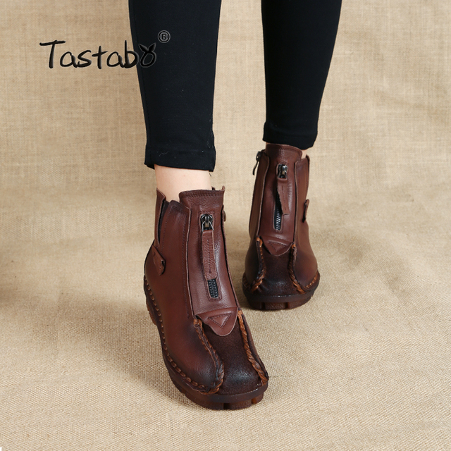 Tastabo Genuine Leather Ankle Boots Velvet Handmade Lady soft Flat shoes comfortable Casual Moccasins Womens shoes
