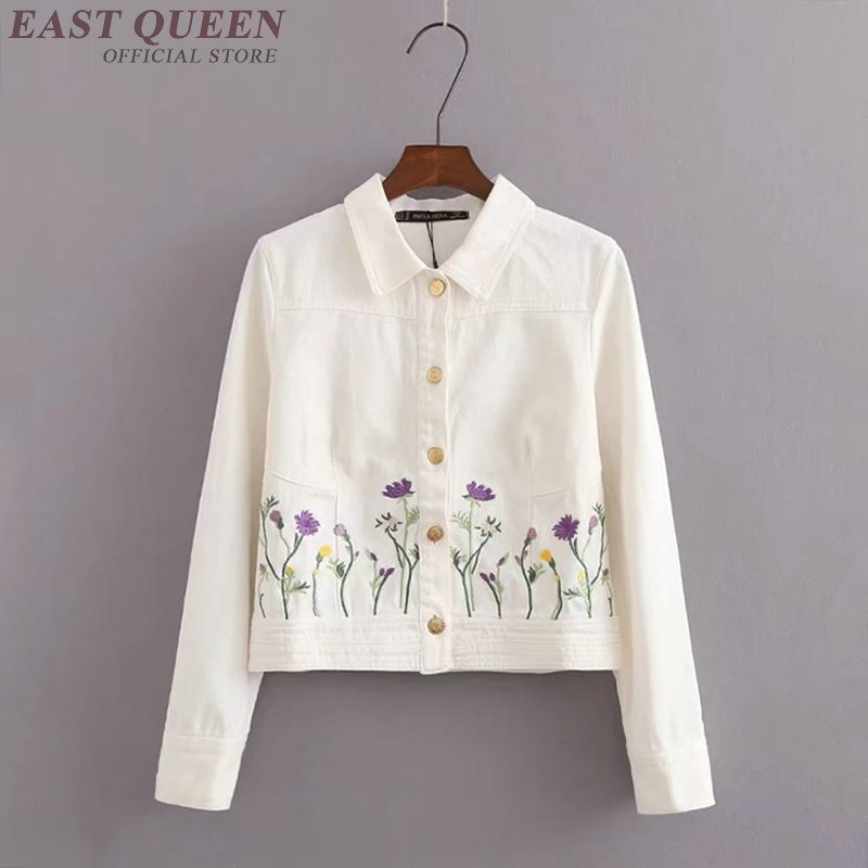 Jean jacket 2018 women embroidered white denim female ladies bomber jacket with embroidery coat autumn jacket