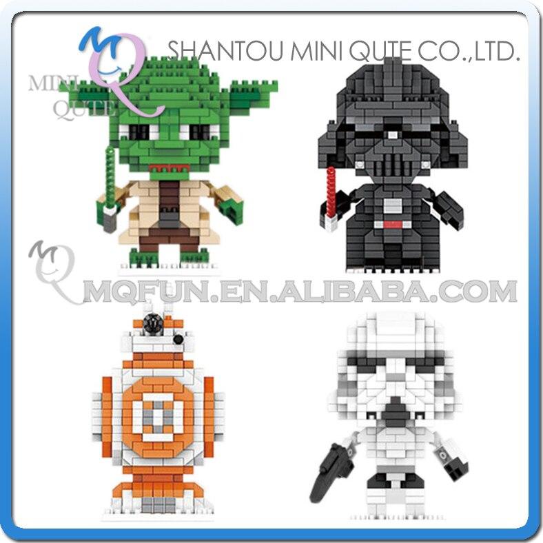 Mini Qute LNO Kawaii Star War Stormtrooper yoda Darth Vader plastic movie building font b blocks