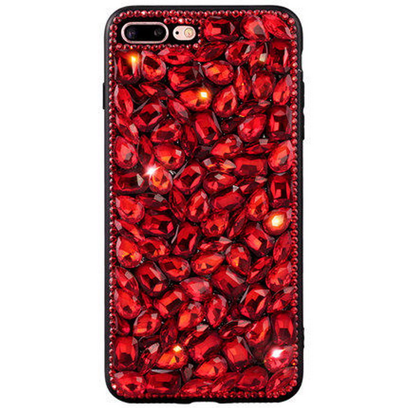 3D Crystal Diamond Bling Case For iphone 8 plus 7 x 6 6s 5 5s se 5c 4 4s Sparkle Red Gem ...