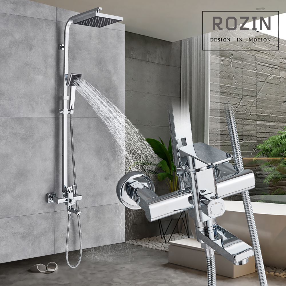 Chrome 8 Rainfall Showerhead Shower Mixer Tap In Wall Bath Shower Faucet Brass Rotation Tub Spout 3-ways with HandshowerChrome 8 Rainfall Showerhead Shower Mixer Tap In Wall Bath Shower Faucet Brass Rotation Tub Spout 3-ways with Handshower