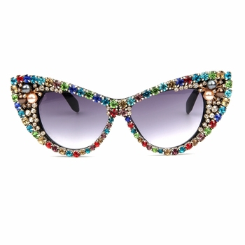 2018 Oversized Sunglasses Women Luxury Brand glasses Colorful Rhinestone Cat Eyes Sunglasses Vintage Shades Eyewear Oculos