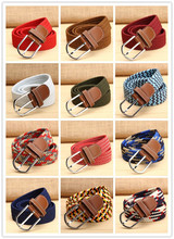 Hot Sales 32 Color 2016 New Men Women Canvas belt Lady elastic pin buckle belt Woven Stretch Waist Belt Multicolor trousers belt
