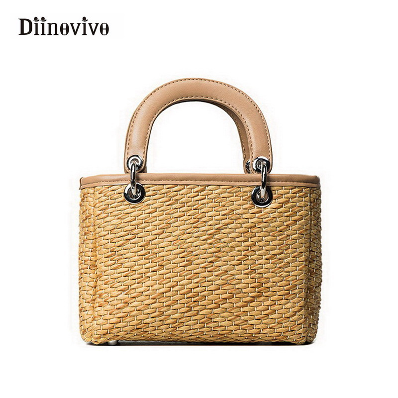 DIINOVIVO Women Bohemian Bali Handbag Summer Handmade Flap Tote Crossbody Shoulder Beach Bag for Girl Rattan Straw Bags WHDV0049 large beach bags women hasp tote bags for women straw handbag bohemian summer holiday bag ladies shoulder casual straw bag w295