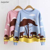 Laipelar Pullover Women Print Cartoon Elephant Tree Cute Kint Sweater For Sweet Girls Loose Casual Jumper Chandail De Filles