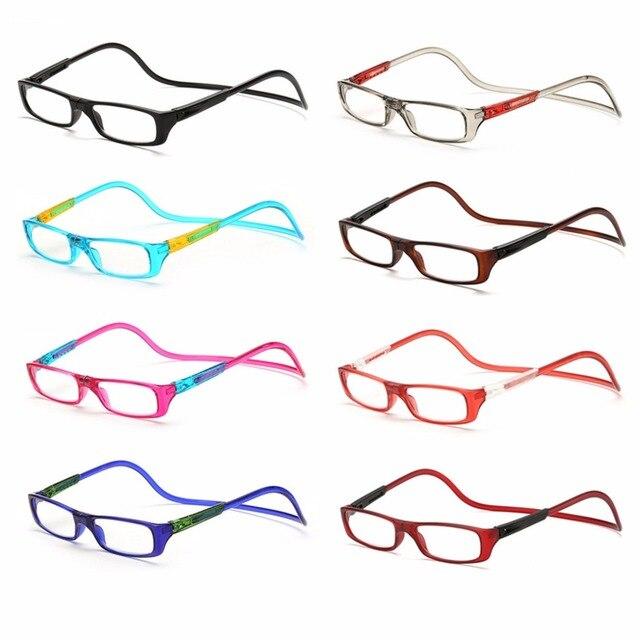 Upgraded Unisex Magnet Reading Glasses Men Women Colorful Adjustable Hanging Neck Magnetic Front presbyopic glasses W515