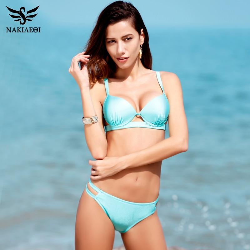 NAKIAEOI 2018 New Bikinis Women Swimsuit Swimwear Female Sexy Brazilian Bikini Set Cut Out Solid Beach Bathing Suit Swim Wear 2