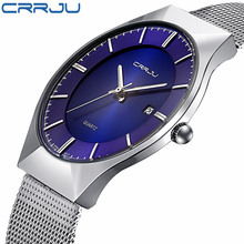 CRRJU Nuevos hombres de la Moda Ultra Delgado Reloj de Cuarzo Relojes Hombres Marca de Lujo de Negocios de Acero Inoxidable de Malla Venda de Reloj Resistente Al Agua