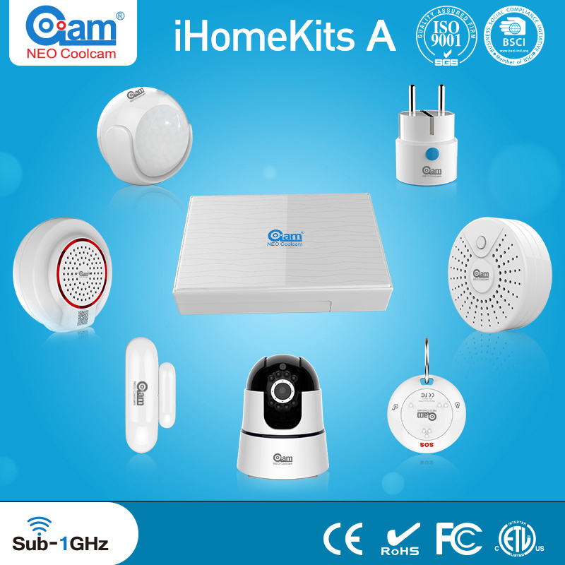 NEO Coolcam iHome smart home automation kits PIR Motion Sensor Siren Alarm Smoke Detector Door Sensor EU/US wifi plug socket