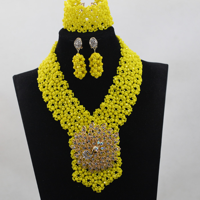 Latest Yellow African Wedding Beads Jewelry Set Chunky Jewelry Bib Bridal Necklace Set Gifts Free Shipping QW381Latest Yellow African Wedding Beads Jewelry Set Chunky Jewelry Bib Bridal Necklace Set Gifts Free Shipping QW381