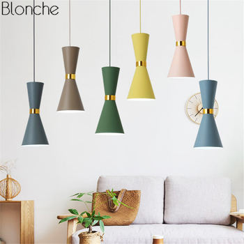 Modern Macarons Pendant Lights LED Aluminum Hanging Lamp Funnel Light for Living Room Bedroom Kitchen Home Lighting Fixtures