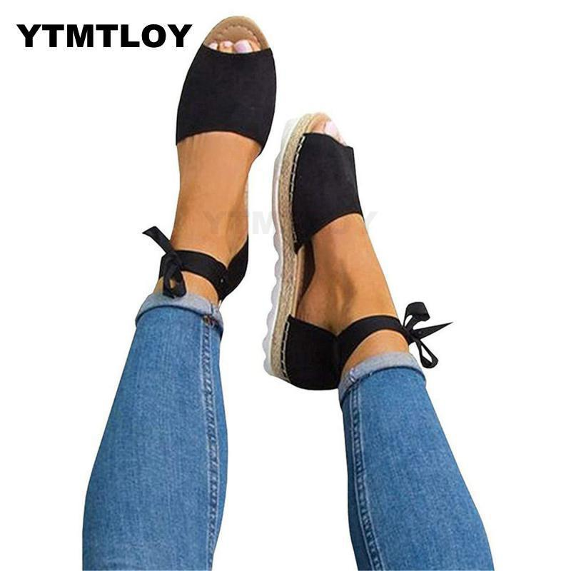 Women Sandals Plus Size 35-44 Summer Shoes With Platform Female Ankle Strap Flat Sandalias Mujer Casual Beach Femme  Black