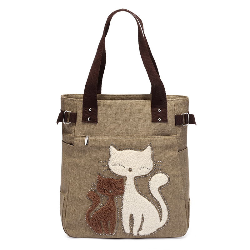Cat Printing Tote Bag Women Designer Leisure Shopping Bag Velvet Cats Rhinestone Ornament Ladies Fashion Canvas Shoulder Bag