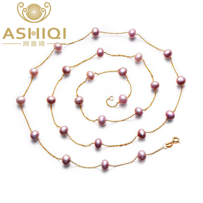 ASHIQI Purple Color Pearl Necklace 925 silver 90cm Long Sweater Chain Natural Pearl Long Necklace for Women Gift