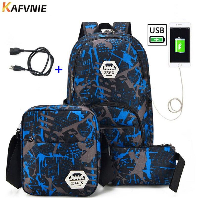3pcs USB Male backpack bag set red and blue high school bag for boys one shoulder big student book bag men school backpack women