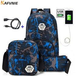 3 шт. USB Мужской рюкзак сумка набор красный и синий школьная сумка для мальчиков на одно плечо большая Студенческая Книга сумка мужской школь...